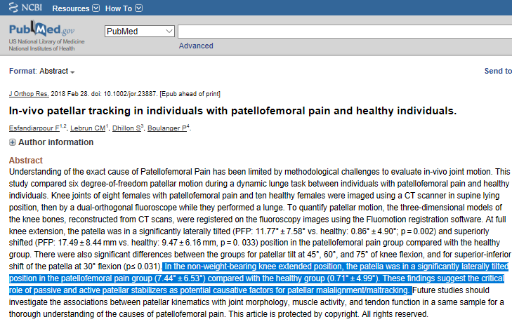 In-vivo patellar tracking in individuals with patellofemoral pain and healthy individuals.