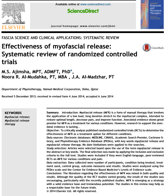Research paper on myofascial release effectiveness.