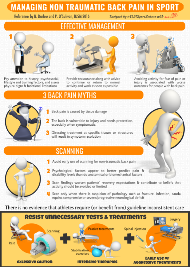 Info-graphic on managing non traumatic back pain in sport.